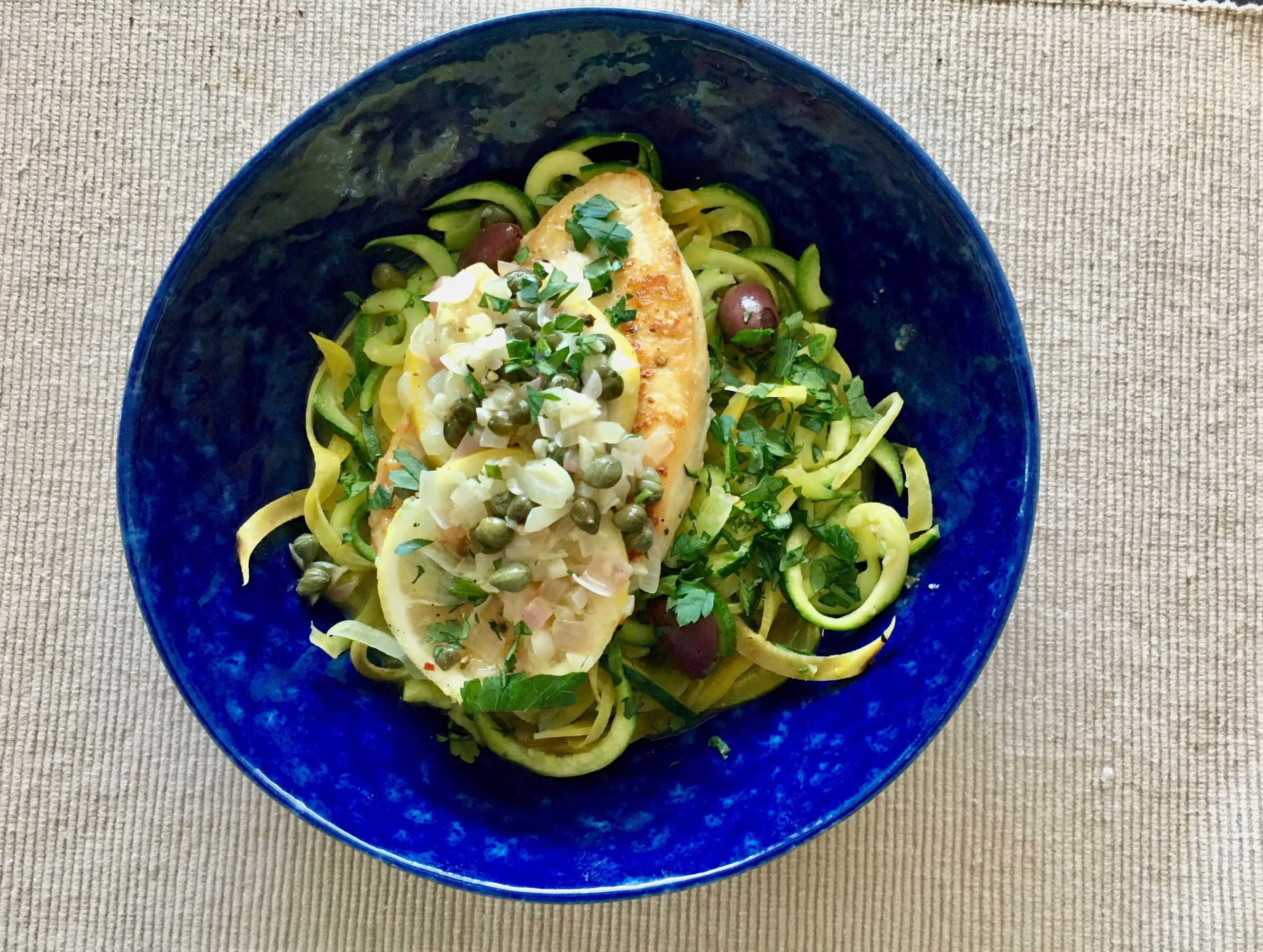 Chicken Piccata with Beets and Zucchini
